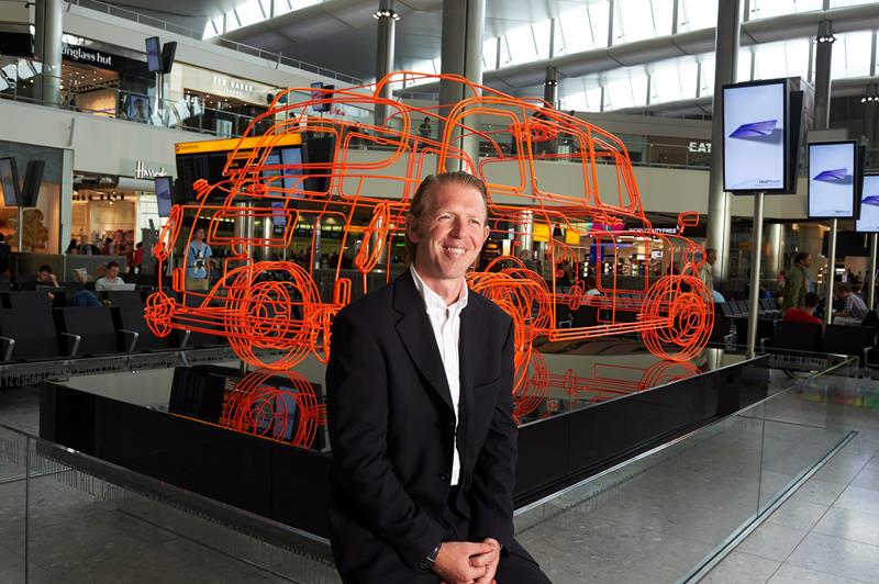 Emerging artist's London Taxi sculpture unveiled at Terminal 2